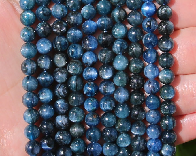 Blue Kyanite Beads | Grade AB | Natural Gemstone Round Loose Beads | Sold by 7 Inch Strand | Size 5mm 6mm 7mm