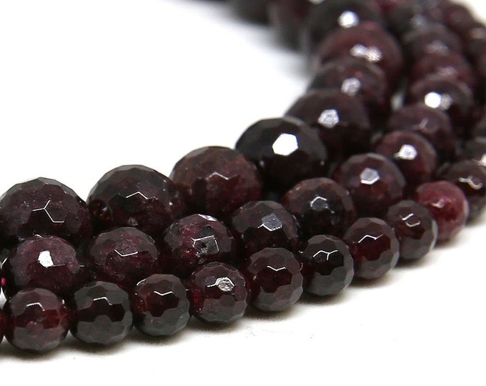 Red Garnet Beads | Faceted Round Natural Gemstone Beads | Sold by 15 Inch Strand | Size 6mm 8mm 10mm
