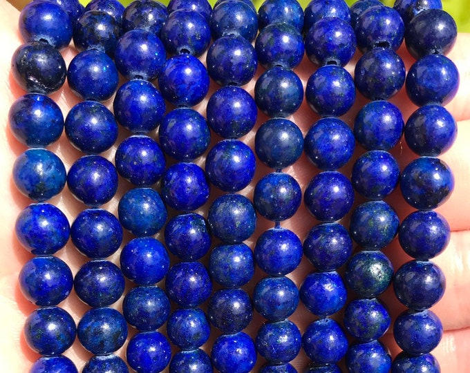 Lapis Lazuli Beads | Grade AB | Round Natural Gemstone Loose Beads | Sold by Strand | Size 6mm 8mm