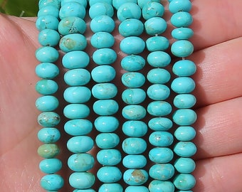 Blue Turquoise Rondelle Beads | Kingman Turquoise | Natural Gemstone Loose Beads | Sold by 4 Inch Strand | Size 8mm