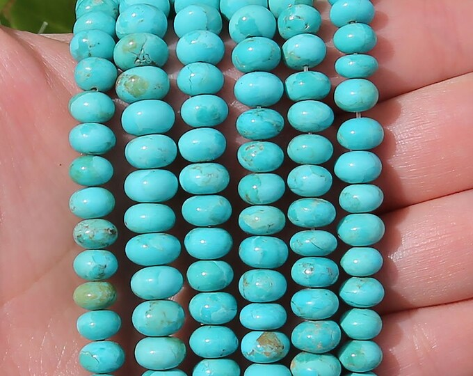 Blue Turquoise Rondelle Beads | Genuine American Turquoise | Natural Gemstone Beads | Sold by 4 Inch Strand | Size 8mm