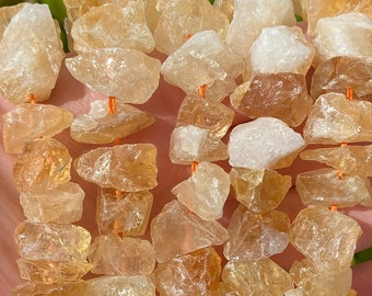 Raw Citrine Nuggets Beads | Drilled Rough Natural Gemstone Loose Beads | Sold by 7 Inch Strand | Size 8-18x5-16x6-18mm