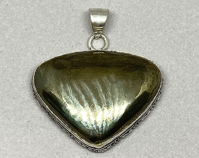 Natural Pyrite Gemstone 925 Silver Bezel Triangle Pendant Focal Bead Size 1.5 Inch