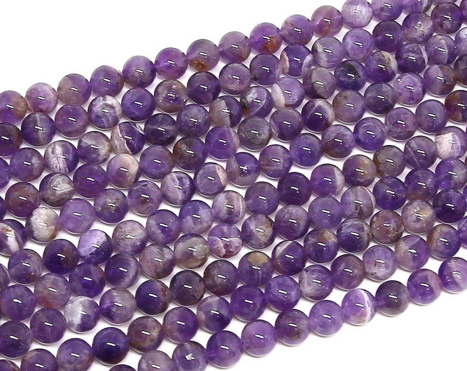 Amethyst Beads | Round Natural Gemstone Loose Beads | Sold by Strand | Size 8mm