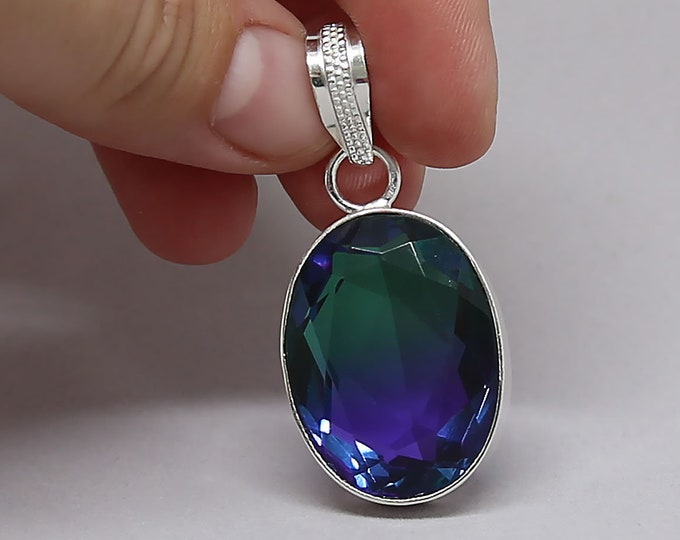 Faceted Blue Green Bi Tourmaline Crystal .925 Sterling Silver Vintage Style Pendant