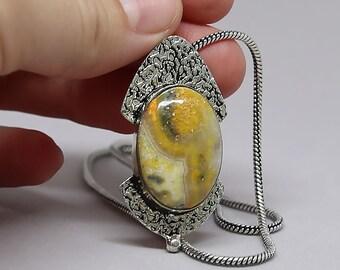 Natural Bumblebee Jasper Gemstone .925 Solid Sterling Silver Vintage Style Pendant Necklace