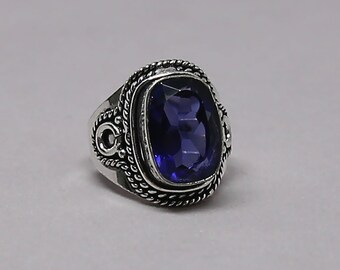 Faceted Tanzanite Quartz Gemstone 925 Sterling Silver Ring Size 8 inch