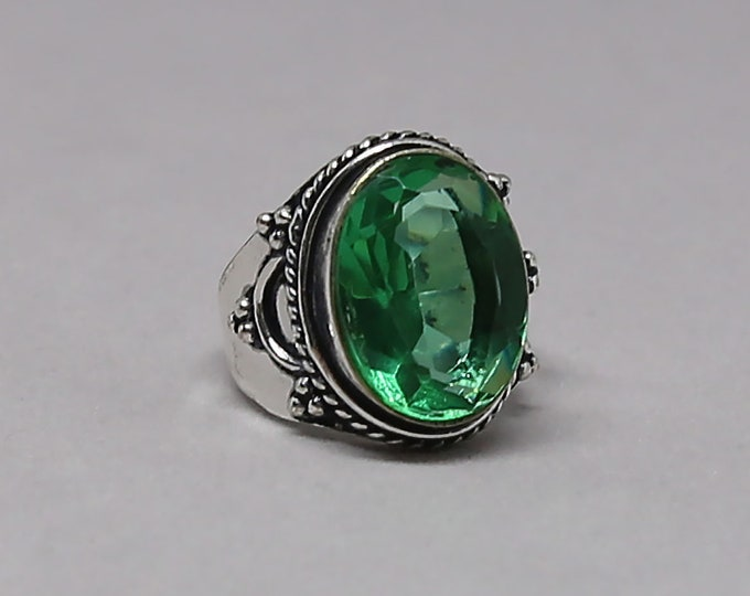 Faceted Emerald Quartz Gemstone 925 Sterling Silver Ring Size 8 1/2 inch
