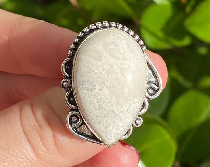 Natural Coral Fossil Gemstone 925 Sterling Silver Adjustable Ring Size 8 inch
