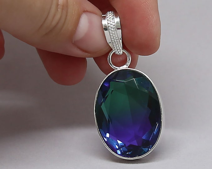 Faceted Blue Green Bi Tourmaline Crystal .925 Sterling Silver Vintage Style Pendant Size 2 Inch
