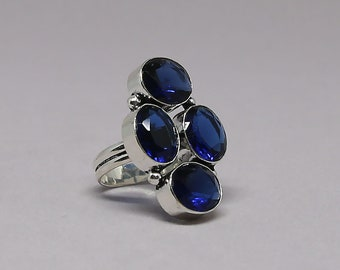 Faceted Tanzanite Quartz Gemstone 925 Sterling Silver Ring Size 6 3/4 inch