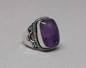 Natural African Amethyst Gemstone 925 Sterling Silver Ring Size 9 inch