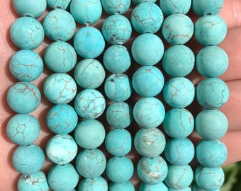 Turquoise Beads | Matte Blue | Round Natural Gemstone Beads | Sold by 15 Inch Strand | Size 4mm 6mm 8mm 10mm 12mm