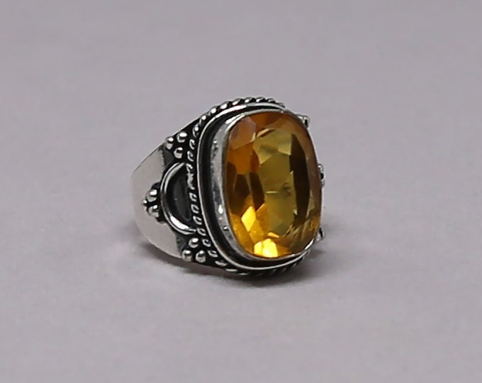 Faceted Citrine Gemstone 925 Sterling Silver Ring Size 7 1/4 inch