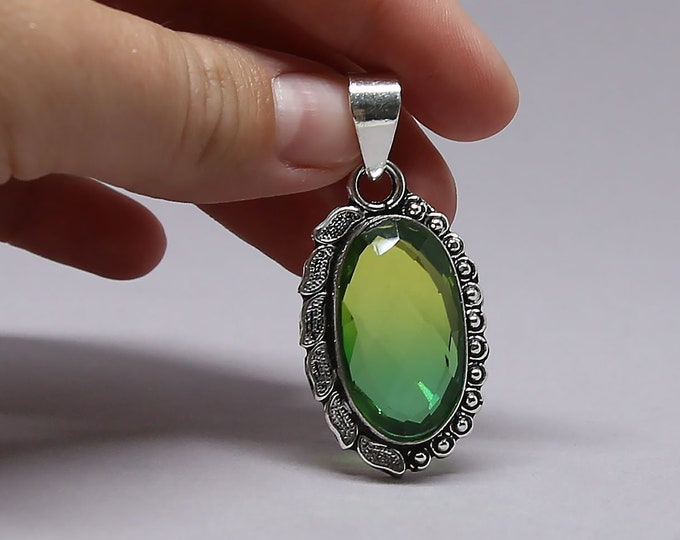 Faceted Bi Tourmaline Vintage Style .925 Solid Sterling Silver Synthetic Gemstone Pendant