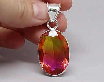 Faceted Red Orange Bi Tourmaline Crystal .925 Sterling Silver Vintage Style Pendant