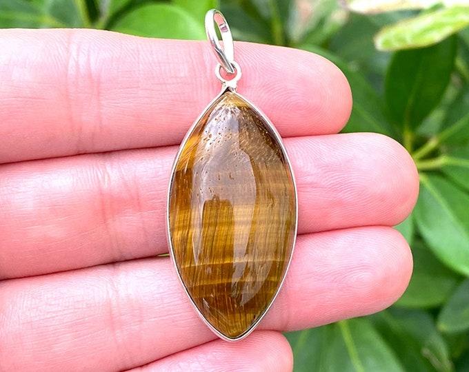 Natural Tiger Eye Gemstone 925 Sterling Silver Horse Eye Pendant Focal Bead Size 1.5 Inch