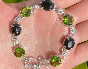 Black Onyx Green Peridot Crystal 925 Sterling Silver Adjustable Bracelet Size 7-7 3/4 inch