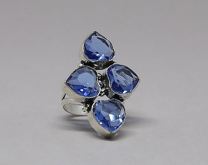 Swiss Blue Quartz Gemstone 925 Sterling Silver Ring Size 7 1/2 inch
