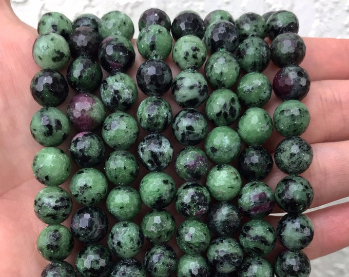 Ruby in Zoisite Beads | Faceted Round Natural Gemstone Loose Beads | Sold by Strand | Size 8mm 10mm