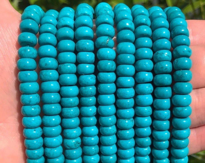 Turquoise Rondelle Beads | Natural Gemstone Beads | Sold by 15 Inch Strand | Size 8x5mm | Hole 1mm