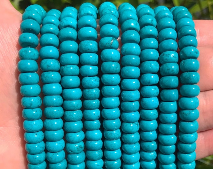 Turquoise Rondelle Beads | Natural Gemstone Loose Beads | Sold by Strand | Size 8x5mm | Hole 1mm