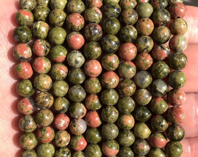 Unakite Beads | Grade A | Round Gemstone Loose Beads | Sold by Strand | Size 6mm