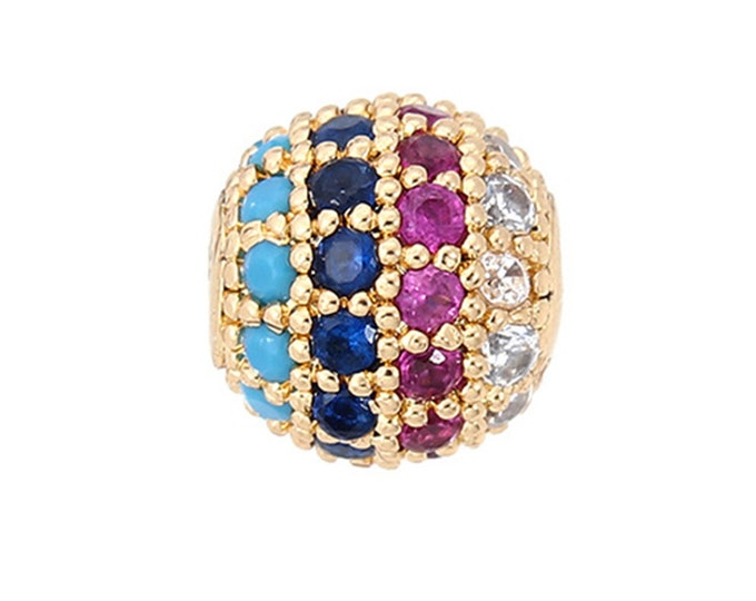 Cubic Zirconia Micro Pave Brass Round Bead | Multi Color Crystal | 18K Gold Plated | Sold Individually | Size 8mm