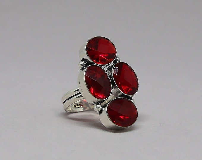 Faceted Garnet Gemstone 925 Sterling Silver Ring Size 7 inch