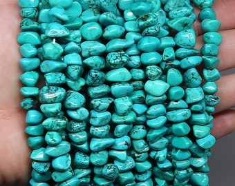 Blue Turquoise Nuggets Beads | Natural Gemstone Beads | Sold by 15 Inch Strand | Size 9-16mm | Hole 1mm