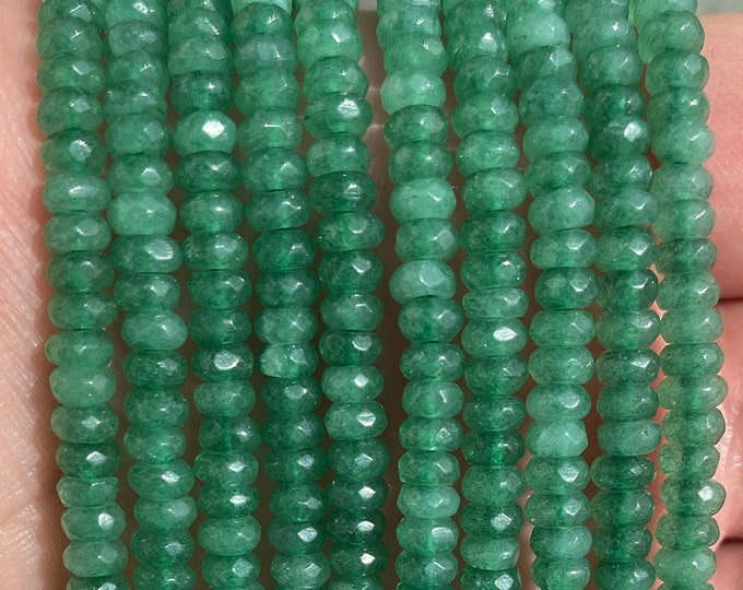 Green Aventurine Rondelle Beads | Grade A | Micro Faceted Natural Gemstone Loose Beads | Sold by 7 Inch Strand | Size 2x4mm