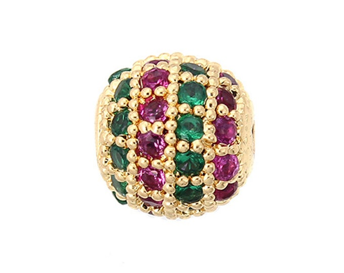 Cubic Zirconia Micro Pave Brass Round Bead | Green Magenta | 18K Gold Plated | Sold Individually | Size 8mm