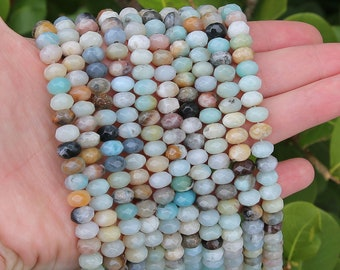 Amazonite Rondelle Beads | Faceted Natural Gemstone Beads | Sold by 15 Inch Strand | Size 5x8mm | Hole 1mm
