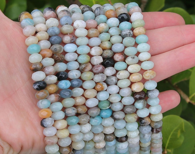 Amazonite Rondelle Beads | Faceted Natural Gemstone Loose Beads | Sold by Strand | Size 5x8mm | Hole 1mm