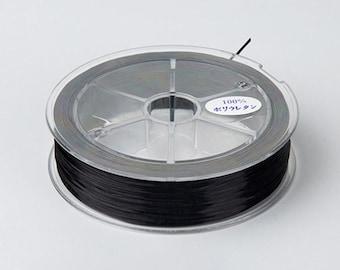 1 Spool - 0.8MM Black Elastic Cord / Thread 80 Meters Crystal String