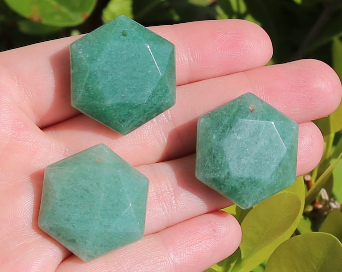 Aventurine Beads | Merkaba Pendant | Faceted Hexagon | Natural Gemstone Pendant | Sold by Piece | Size 25mm | Hole 2mm