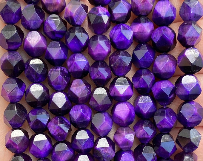 Purple Tiger Eye Beads | Faceted Diamond | Natural Gemstone Beads | Sold by 7 Inch Strand | Size 8mm