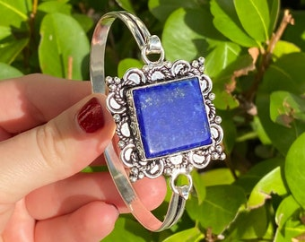Natural Lapis Lazuli 925 Sterling Silver Cuff Bracelet Size 7-8 inch