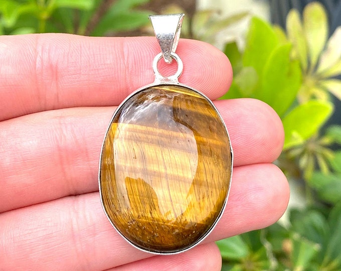 Natural Tiger Eye Gemstone 925 Sterling Silver Oval Pendant Focal Bead Size 1.75 Inch