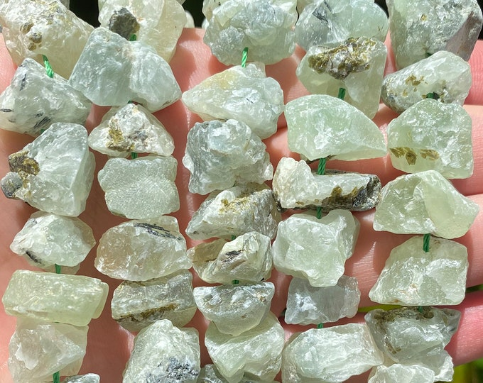 Prehnite Nuggets Beads | Drilled Raw Natural Gemstone Beads | Sold by 7 Inch Strand | Size 11-22x8-19x12-20mm
