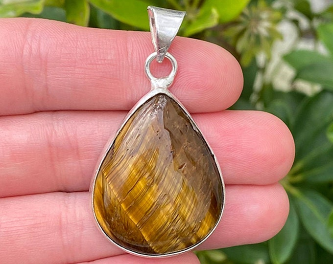 Natural Tiger Eye Gemstone 925 Sterling Silver Pendant Focal Bead Size 1.5 Inch