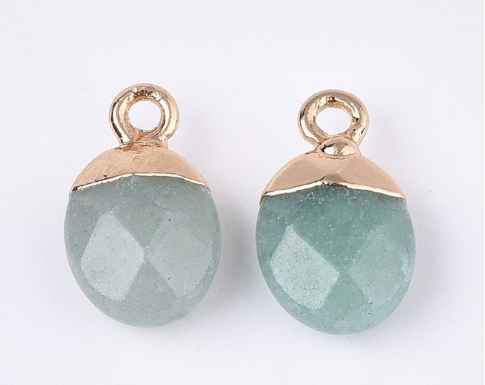 Green Aventurine Gemstone Pendants | Faceted Oval Loose Beads | with Iron Findings | Gold Edged | Sold by Pkg 5 Pcs | Size 14~15x8x5~5.5mm