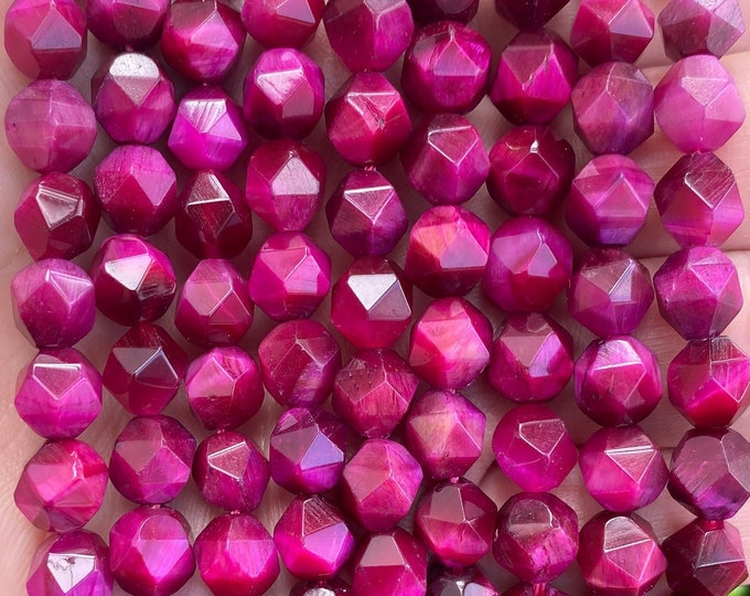 Pink Tiger Eye Beads | Faceted Diamond | Natural Gemstone Beads | Sold by 7 Inch Strand | Size 8mm