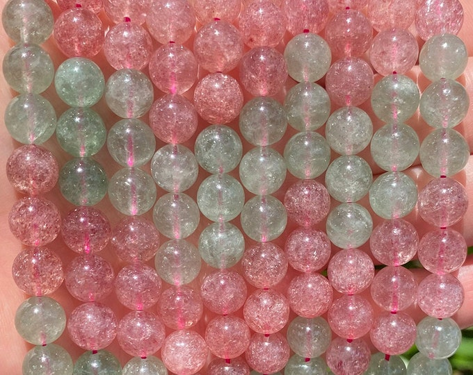Strawberry Quartz Beads | Grade A | Round Natural Gemstone Loose Beads | Sold by 15 Inch Strand | Size 8mm
