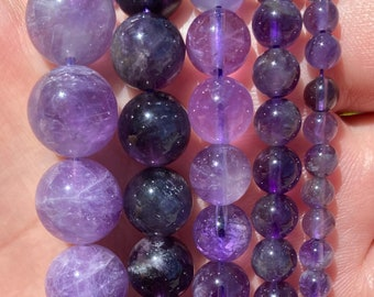 Purple Amethyst Beads | Grade A | Round Natural Gemstone Loose Beads | Sold by 15 Inch Strand | Size 4mm 6mm 8mm 10mm 12mm 14mm