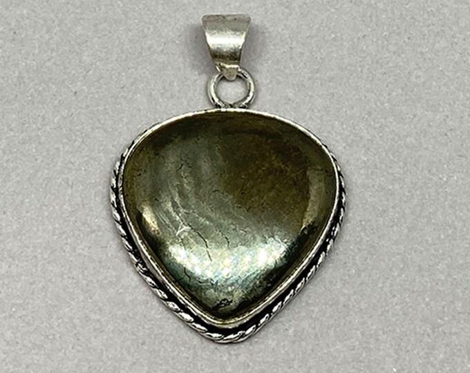 Natural Pyrite Gemstone 925 Silver Bezel Teardrop Pendant Vintage Style Focal Bead Size 1.75 Inch