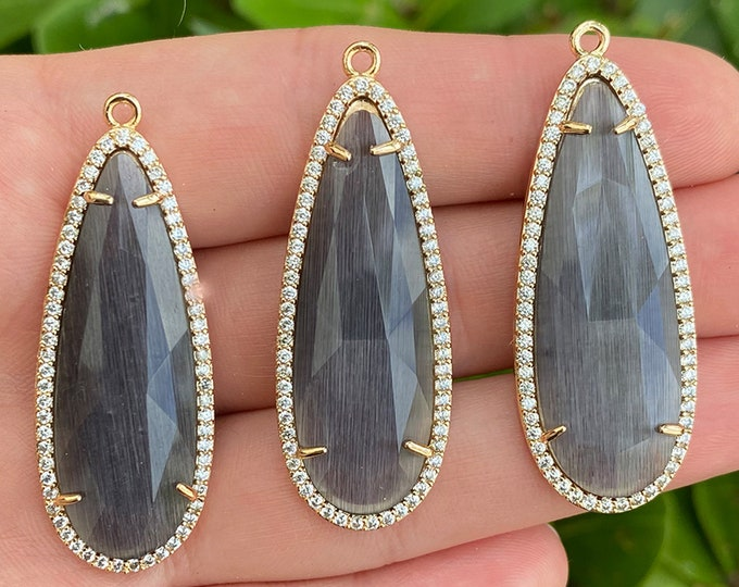 Brass Micro Pave Cubic Zirconia Pendants with Faceted Gray Crystal | Teardrop Pendant | Sold by Piece | Size 45x17x5mm
