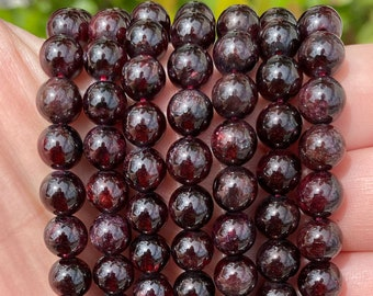 Garnet Beads | Grade A | Polished Round Natural Gemstone Beads | Sold by 15 Inch Strand | Size 4mm 5.5-6mm 7.5-8mm 9mm 10mm 11mm 12mm