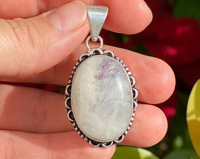 Natural Moonstone Pendant | 925 Sterling Silver | Boho Style | Size 2 Inch