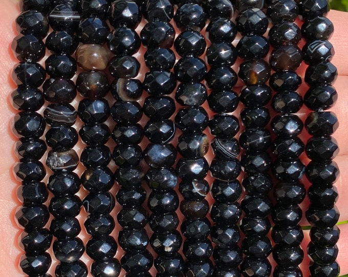 Black Stripe Agate Rondelle Beads | Faceted Natural Gemstone Loose Beads | Sold by 15 Inch Strand | Size 8x5mm
